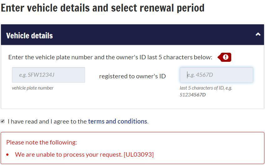 I M Unable To Renew My Road Tax Lta Prompts Me With The Following