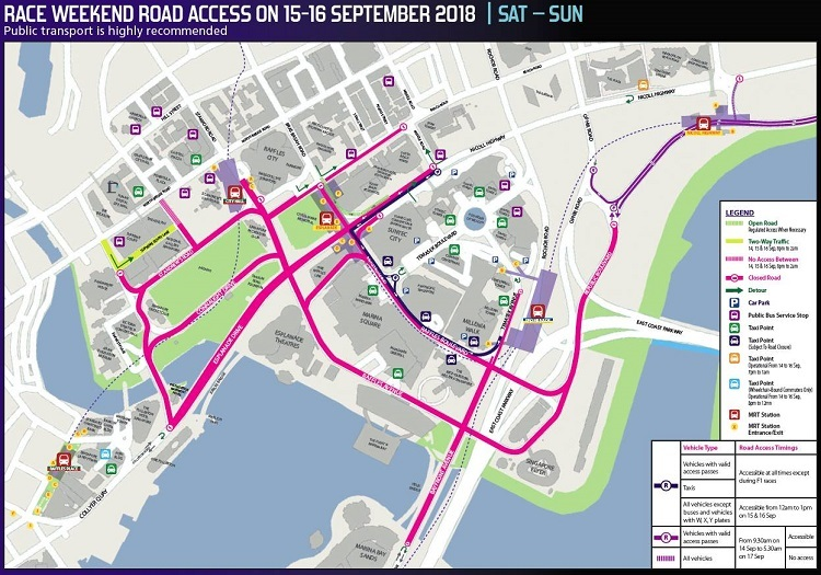 Road Closures for the Singapore F1 Grand Prix Night Race