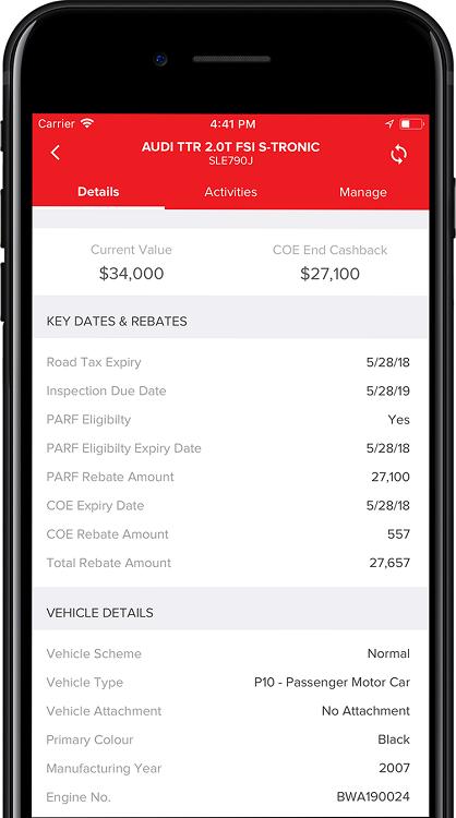 Motorist App Vehicle Details