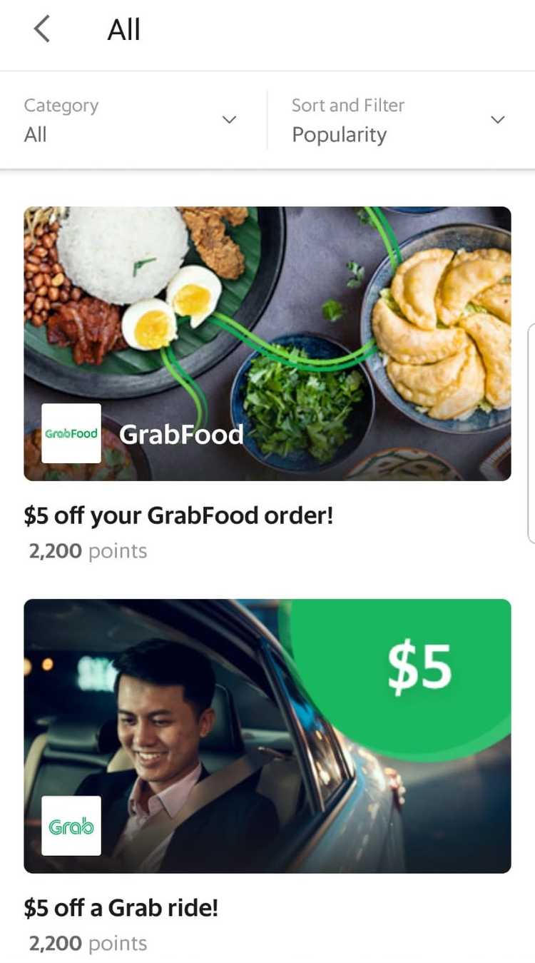 Screenshot Of Grab App Reward Page
