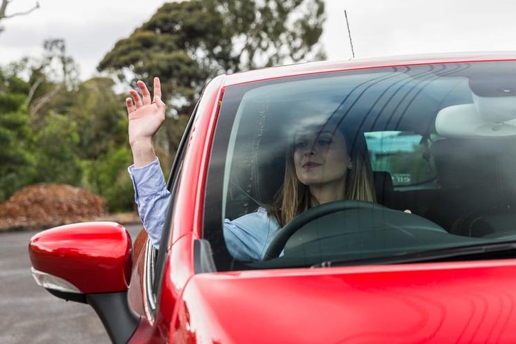 Driver waving thanks