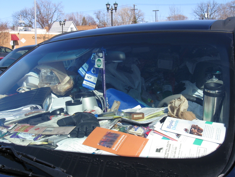 cluttered car